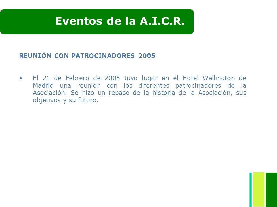 REUNIÓN CON PATROCINADORES 2005 El 21 de Febrero de 2005 tuvo lugar en el Hotel Wellington de Madrid una reunión con los diferentes patrocinadores de