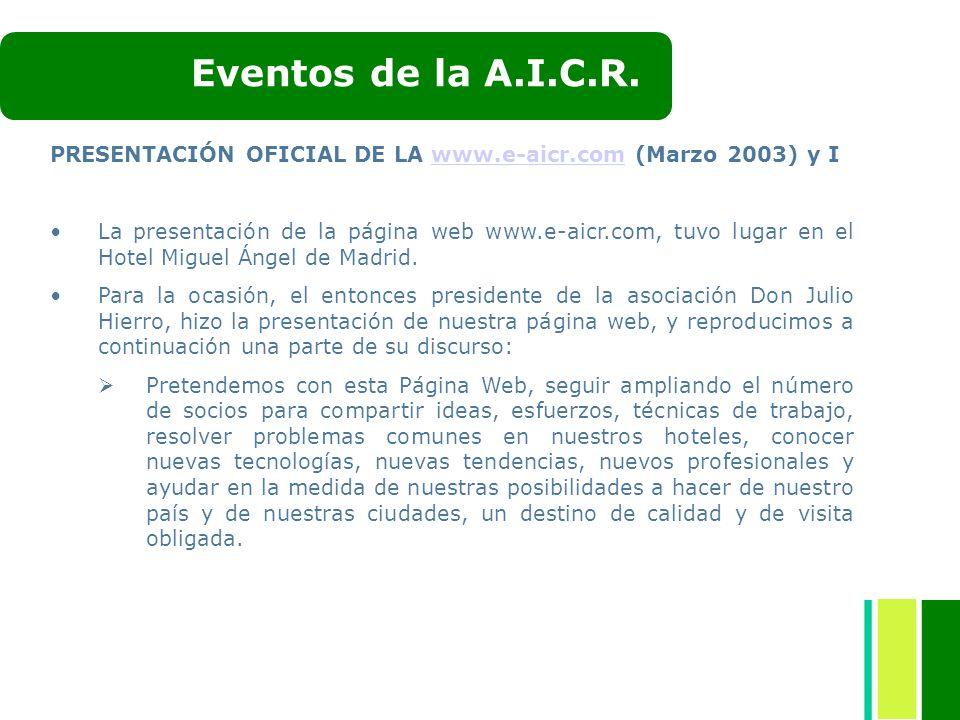 PRESENTACIÓN OFICIAL DE LA www.e-aicr.com (Marzo 2003) y Iwww.e-aicr.com La presentación de la página web www.e-aicr.com, tuvo lugar en el Hotel Migue