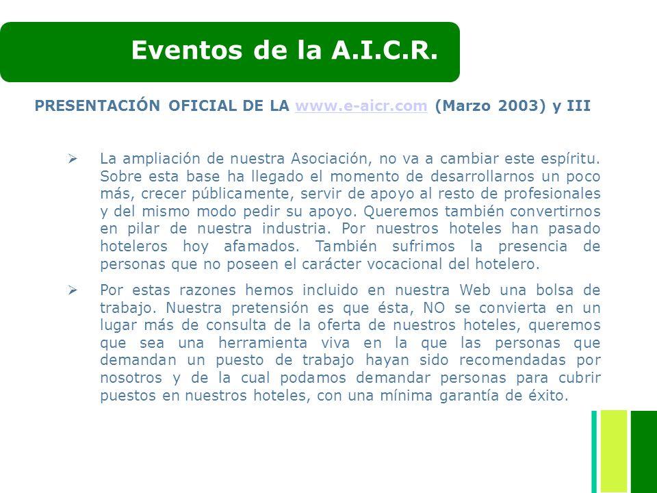 PRESENTACIÓN OFICIAL DE LA www.e-aicr.com (Marzo 2003) y IIIwww.e-aicr.com La ampliación de nuestra Asociación, no va a cambiar este espíritu. Sobre e