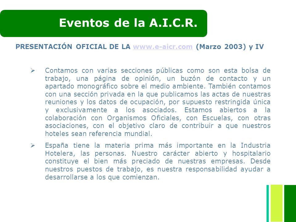 PRESENTACIÓN OFICIAL DE LA www.e-aicr.com (Marzo 2003) y IVwww.e-aicr.com Contamos con varias secciones públicas como son esta bolsa de trabajo, una p
