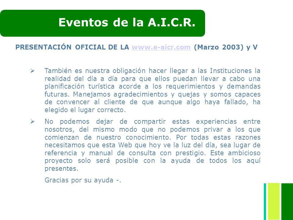 PRESENTACIÓN OFICIAL DE LA www.e-aicr.com (Marzo 2003) y Vwww.e-aicr.com También es nuestra obligación hacer llegar a las Instituciones la realidad de