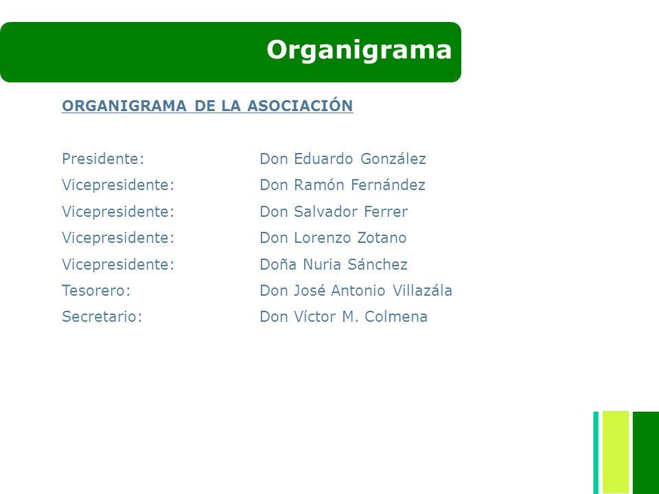 Organigrama ORGANIGRAMA DE LA ASOCIACIÓN Presidente: Don Eduardo González Vicepresidente:Don Ramón Fernández Vicepresidente:Don Salvador Ferrer Vicepr