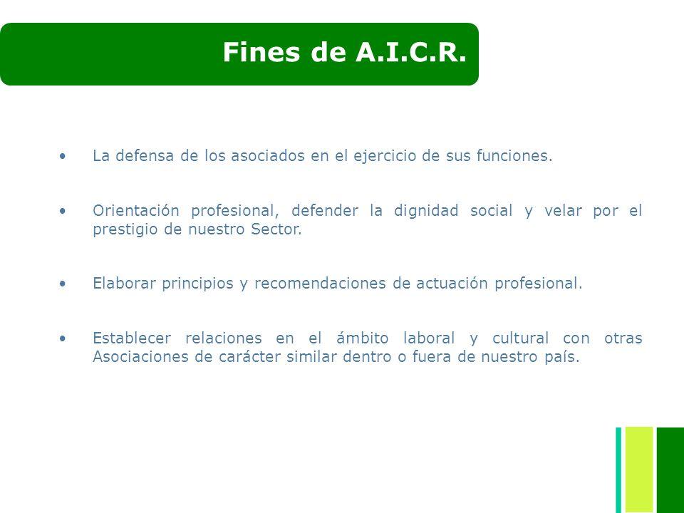 Fines de A.I.C.R. La defensa de los asociados en el ejercicio de sus funciones. Orientación profesional, defender la dignidad social y velar por el pr