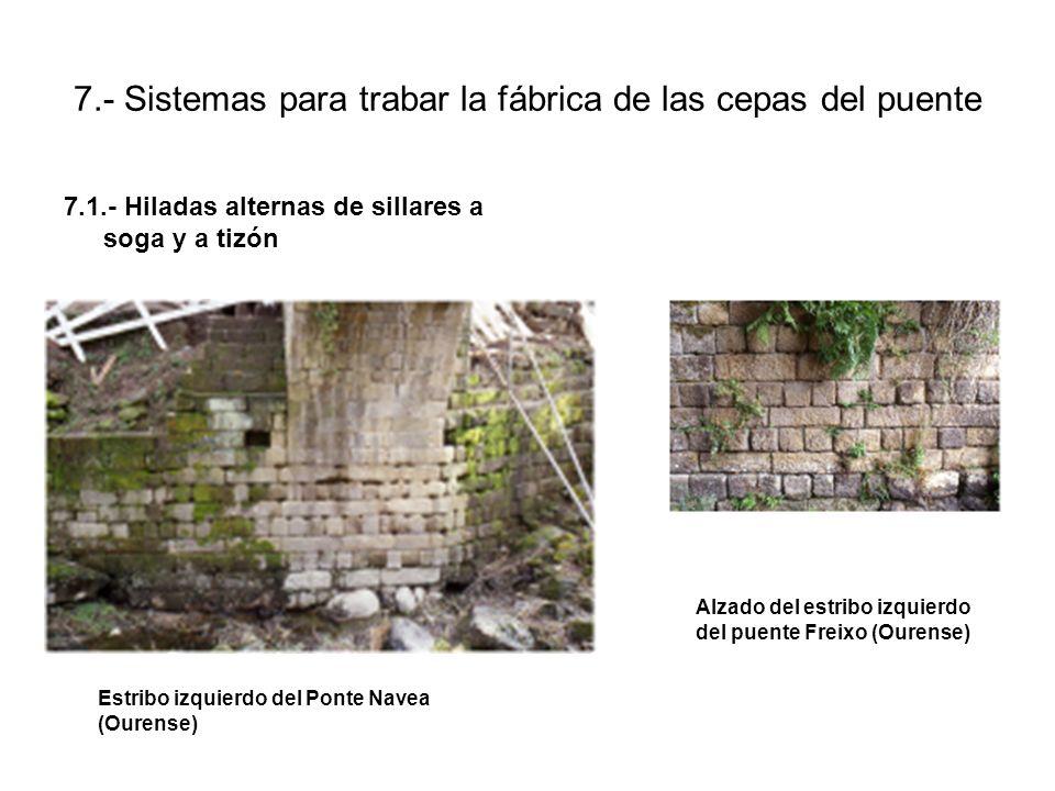 7.- Sistemas para trabar la fábrica de las cepas del puente 7.1.- Hiladas alternas de sillares a soga y a tizón Estribo izquierdo del Ponte Navea (Ourense) Alzado del estribo izquierdo del puente Freixo (Ourense)