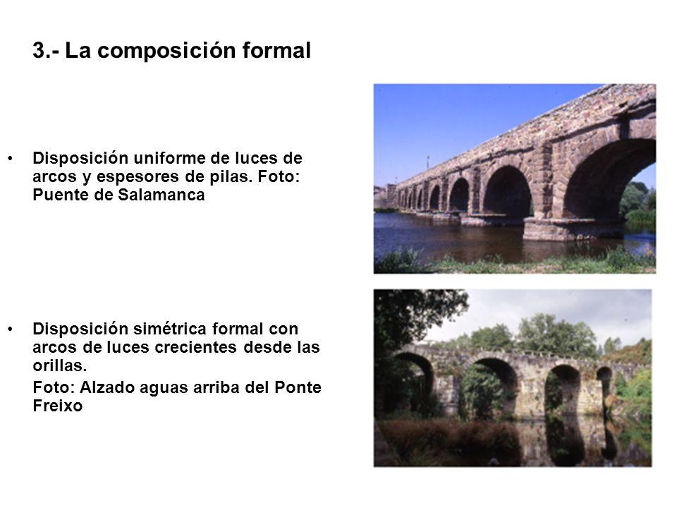3.- La composición formal Disposición uniforme de luces de arcos y espesores de pilas. Foto: Puente de Salamanca Disposición simétrica formal con arco
