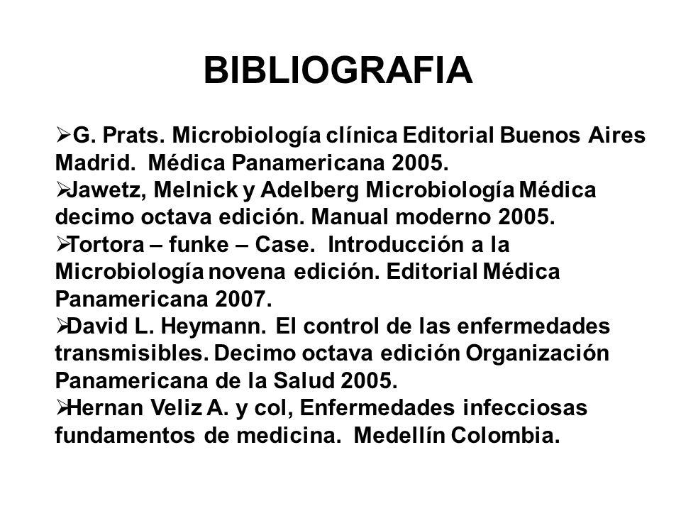 BIBLIOGRAFIA G. Prats. Microbiología clínica Editorial Buenos Aires Madrid. Médica Panamericana 2005. Jawetz, Melnick y Adelberg Microbiología Médica