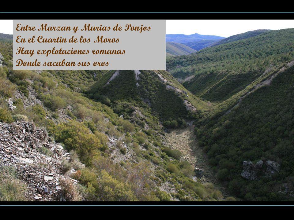 Entre Marzan y Murias de Ponjos En el Cuartin de los Moros Hay explotaciones romanas Donde sacaban sus oros