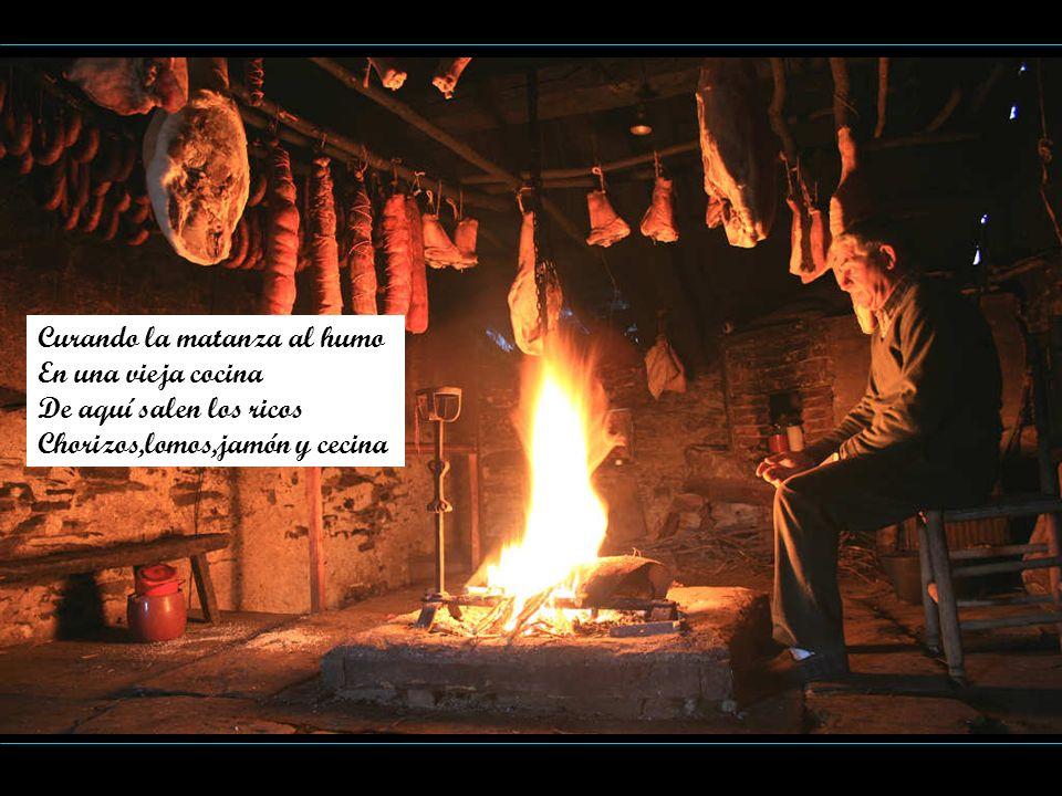 Curando la matanza al humo En una vieja cocina De aquí salen los ricos Chorizos,lomos,jamón y cecina