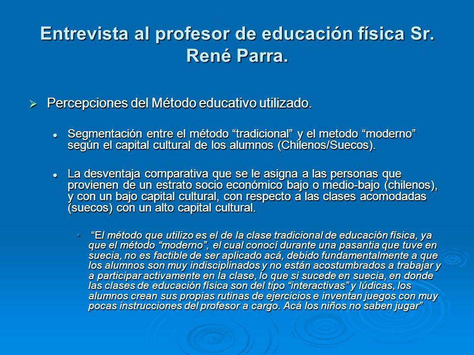 Entrevista al profesor de educación física Sr. René Parra. Percepciones del Método educativo utilizado. Percepciones del Método educativo utilizado. S