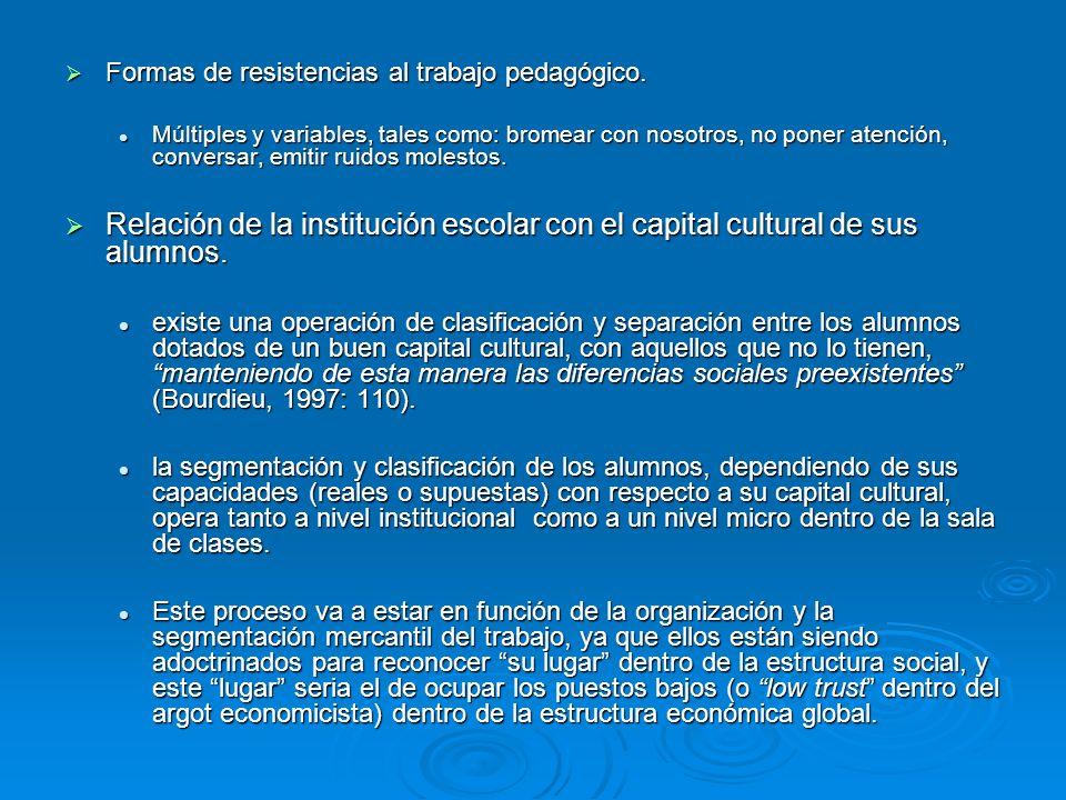 Formas de resistencias al trabajo pedagógico. Formas de resistencias al trabajo pedagógico. Múltiples y variables, tales como: bromear con nosotros, n