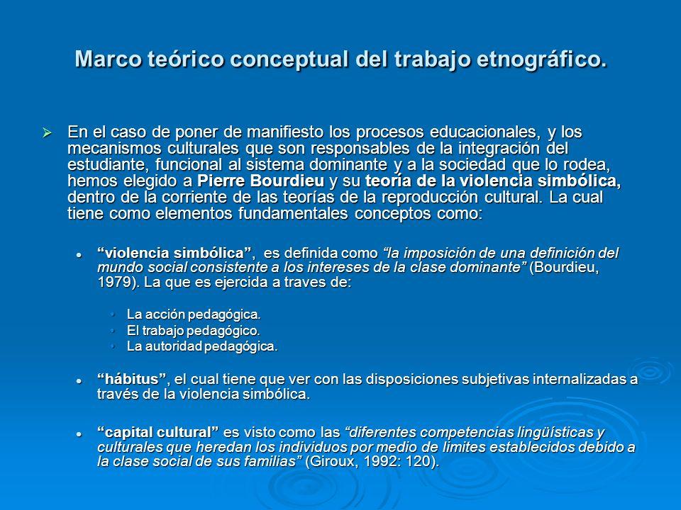 Marco teórico conceptual del trabajo etnográfico. En el caso de poner de manifiesto los procesos educacionales, y los mecanismos culturales que son re