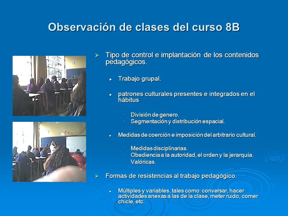 Observación de clases del curso 8B Tipo de control e implantación de los contenidos pedagógicos. Tipo de control e implantación de los contenidos peda