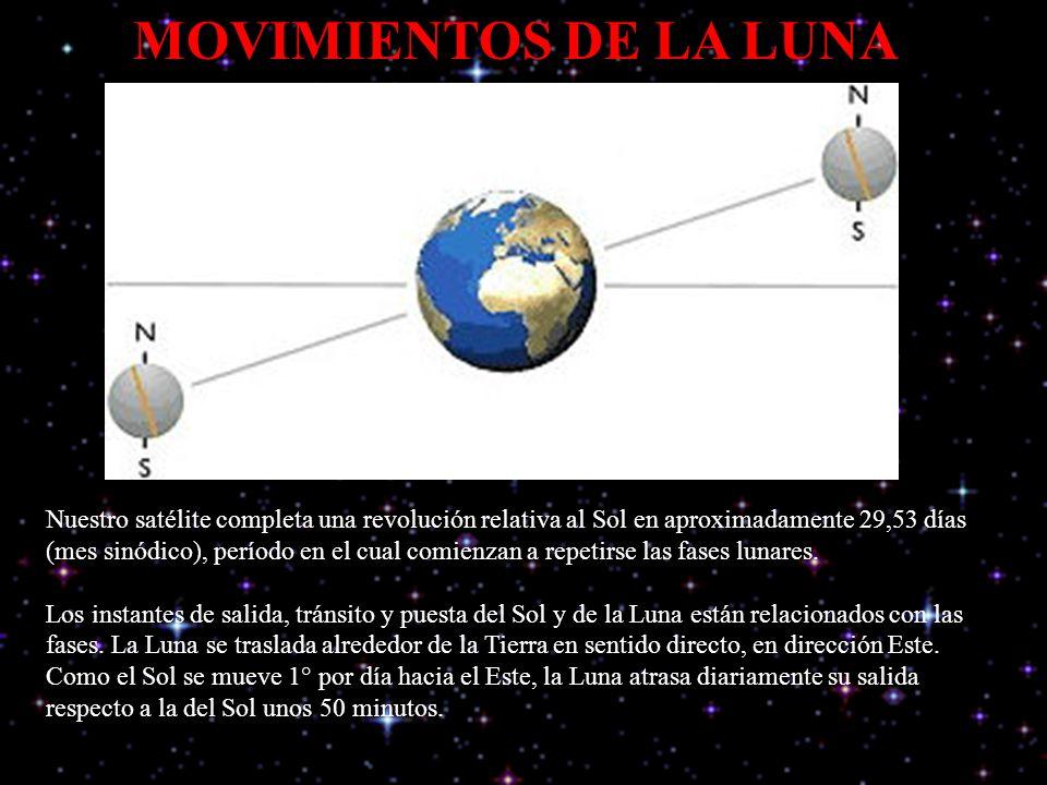 MOVIMIENTOS DE LA LUNA Nuestro satélite completa una revolución relativa al Sol en aproximadamente 29,53 días (mes sinódico), período en el cual comienzan a repetirse las fases lunares.