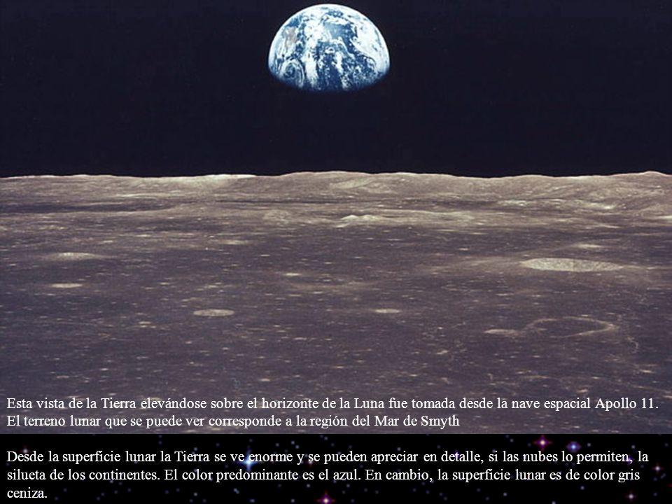 Esta vista de la Tierra elevándose sobre el horizonte de la Luna fue tomada desde la nave espacial Apollo 11. El terreno lunar que se puede ver corres