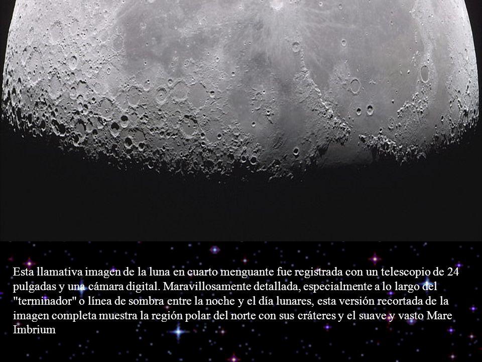 Esta llamativa imagen de la luna en cuarto menguante fue registrada con un telescopio de 24 pulgadas y una cámara digital. Maravillosamente detallada,