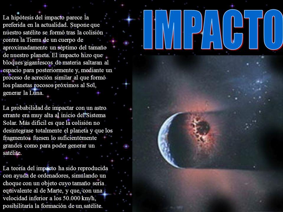 La hipótesis del impacto parece la preferida en la actualidad. Supone que nuestro satélite se formó tras la colisión contra la Tierra de un cuerpo de