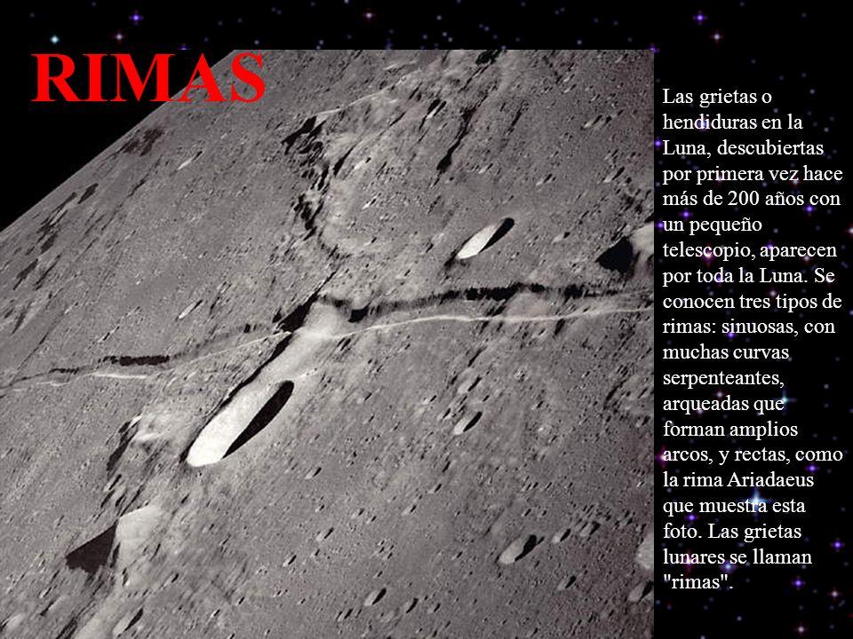 Las grietas o hendiduras en la Luna, descubiertas por primera vez hace más de 200 años con un pequeño telescopio, aparecen por toda la Luna.