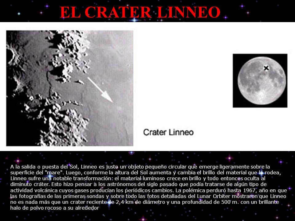 EL CRATER LINNEO A la salida o puesta del Sol, Linneo es justo un objeto pequeño circular que emerge ligeramente sobre la superficie del mare .