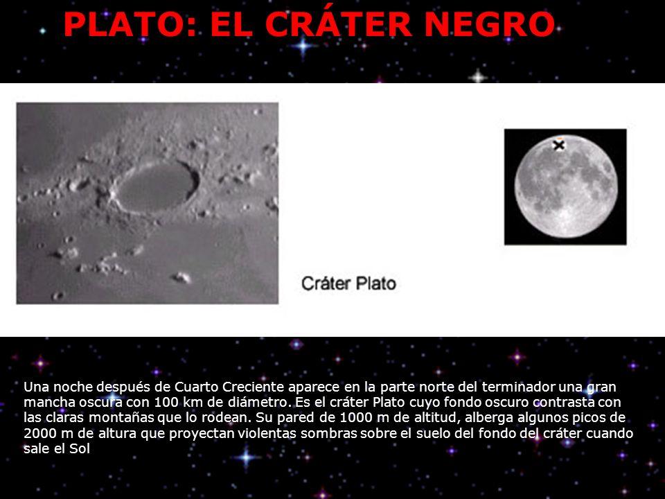 PLATO: EL CRÁTER NEGRO Una noche después de Cuarto Creciente aparece en la parte norte del terminador una gran mancha oscura con 100 km de diámetro.