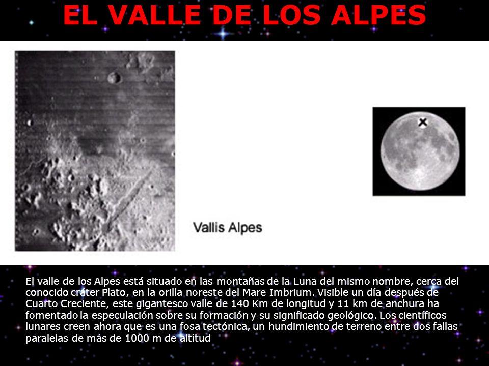 EL VALLE DE LOS ALPES El valle de los Alpes está situado en las montañas de la Luna del mismo nombre, cerca del conocido cráter Plato, en la orilla noreste del Mare Imbrium.