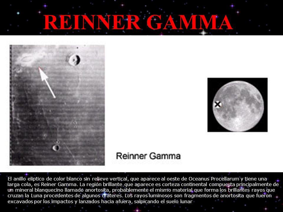 REINNER GAMMA El anillo elíptico de color blanco sin relieve vertical, que aparece al oeste de Oceanus Procellarum y tiene una larga cola, es Reiner Gamma.