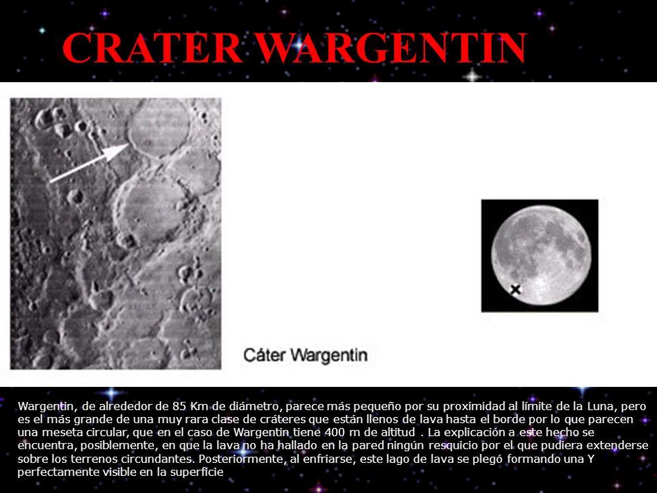 CRATER WARGENTIN Wargentin, de alrededor de 85 Km de diámetro, parece más pequeño por su proximidad al límite de la Luna, pero es el más grande de una