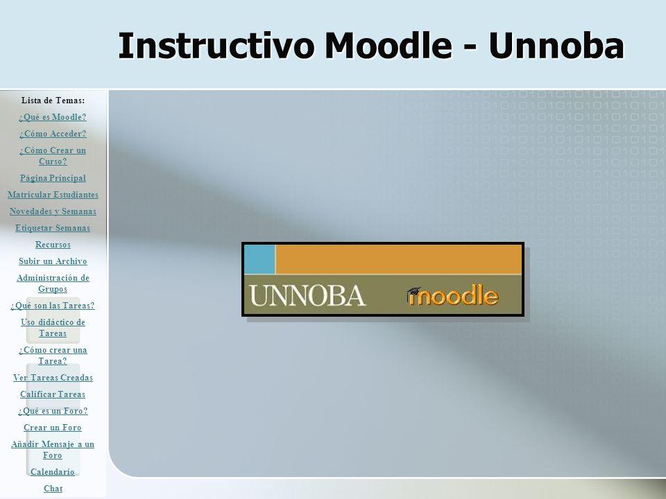 Instructivo Moodle - Unnoba Lista de Temas: ¿Qué es Moodle? ¿Cómo Acceder? ¿Cómo Crear un Curso? Página Principal Matricular Estudiantes Novedades y S