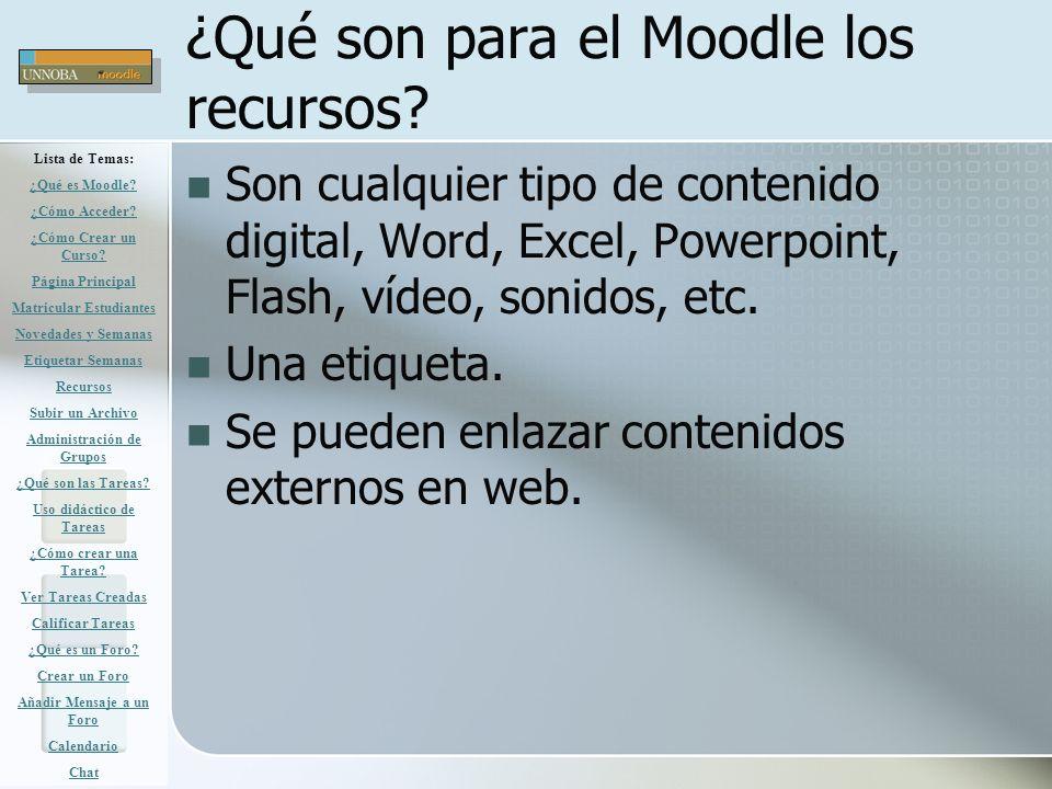 ¿Qué son para el Moodle los recursos? Son cualquier tipo de contenido digital, Word, Excel, Powerpoint, Flash, vídeo, sonidos, etc. Una etiqueta. Se p