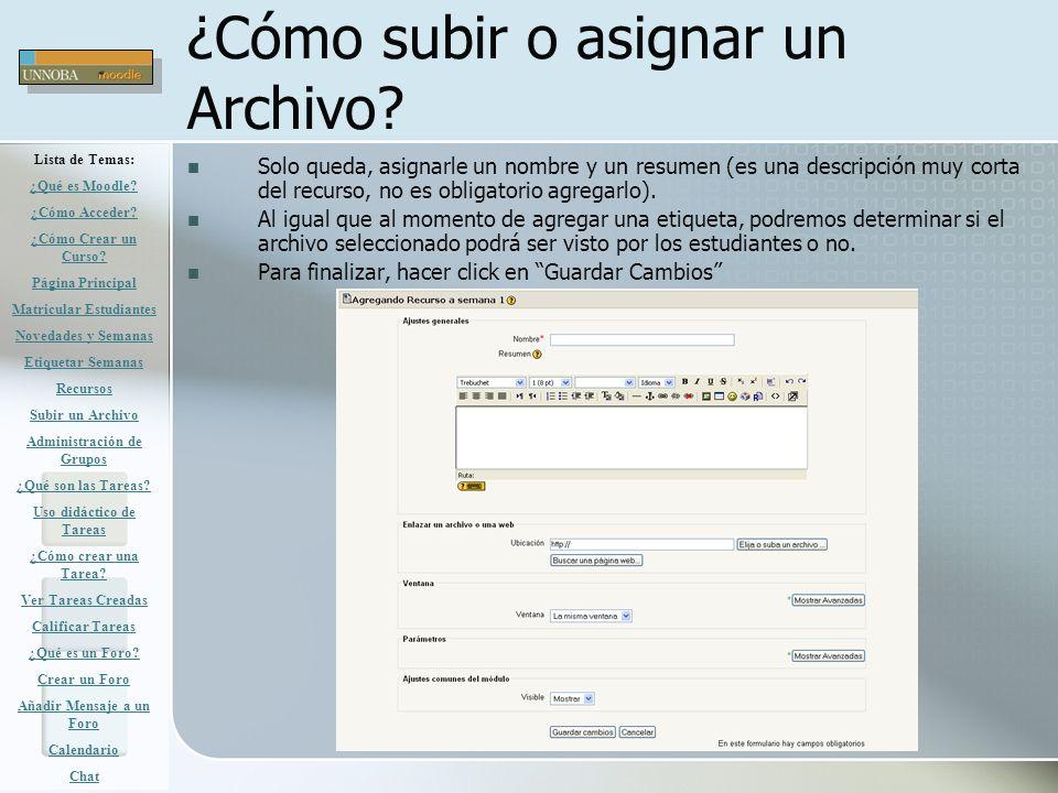 ¿Cómo subir o asignar un Archivo? Solo queda, asignarle un nombre y un resumen (es una descripción muy corta del recurso, no es obligatorio agregarlo)