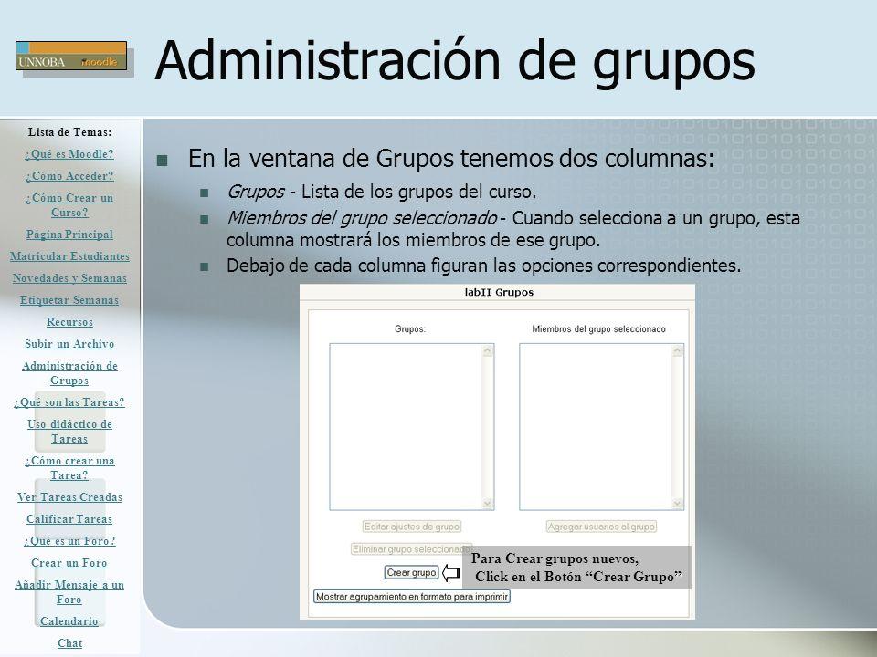 Administración de grupos En la ventana de Grupos tenemos dos columnas: Grupos - Lista de los grupos del curso. Miembros del grupo seleccionado - Cuand