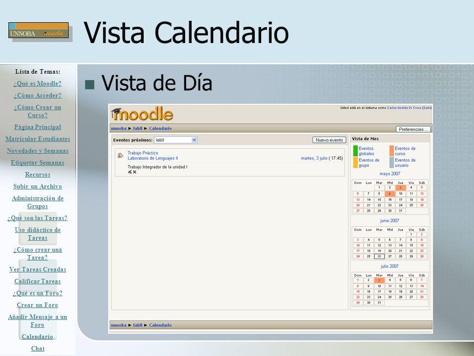 Vista Calendario Vista de Día Lista de Temas: ¿Qué es Moodle? ¿Cómo Acceder? ¿Cómo Crear un Curso? Página Principal Matricular Estudiantes Novedades y