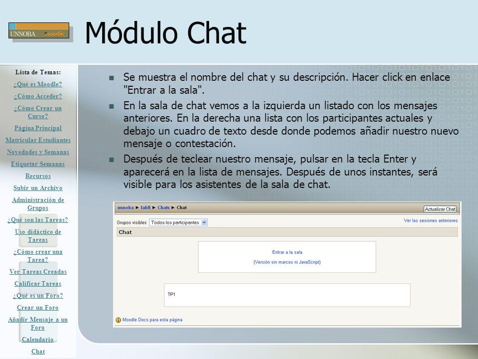 Módulo Chat Se muestra el nombre del chat y su descripción. Hacer click en enlace
