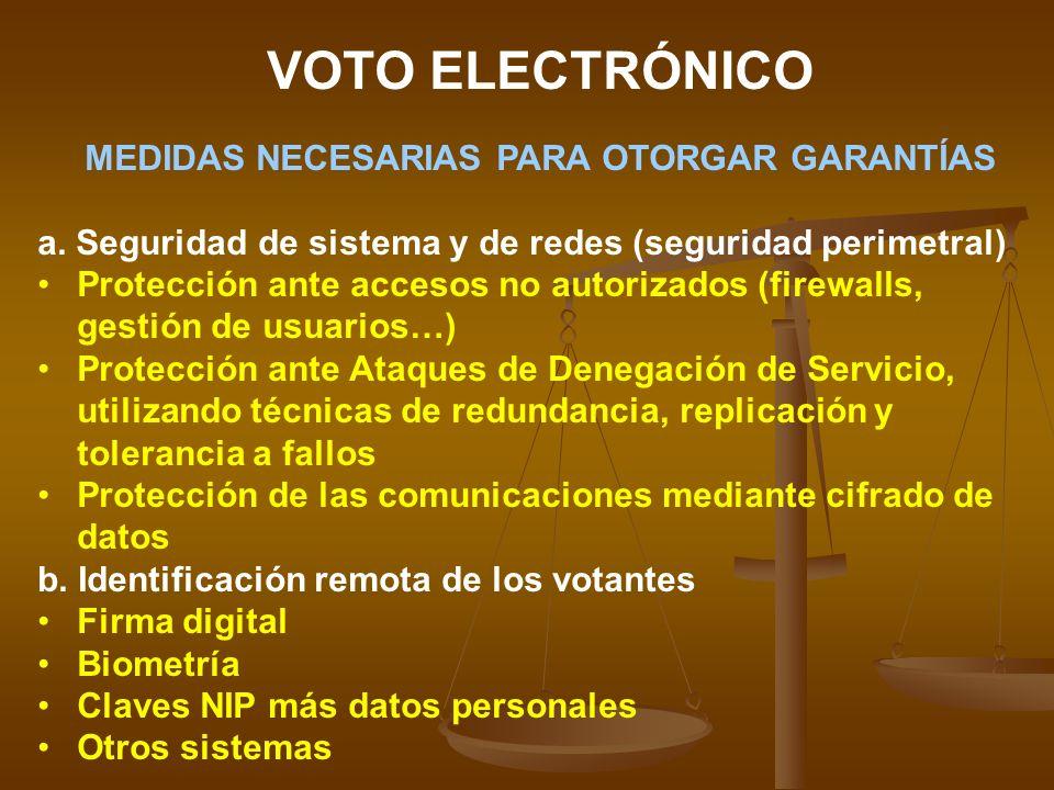 VOTO ELECTRÓNICO MEDIDAS NECESARIAS PARA OTORGAR GARANTÍAS a. Seguridad de sistema y de redes (seguridad perimetral) Protección ante accesos no autori