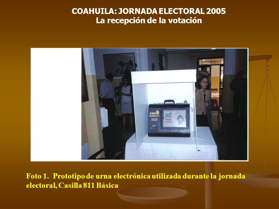 COAHUILA: JORNADA ELECTORAL 2005 La recepción de la votación Foto 1. Prototipo de urna electrónica utilizada durante la jornada electoral, Casilla 811