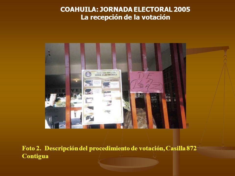 COAHUILA: JORNADA ELECTORAL 2005 La recepción de la votación Foto 2. Descripción del procedimiento de votación, Casilla 872 Contigua