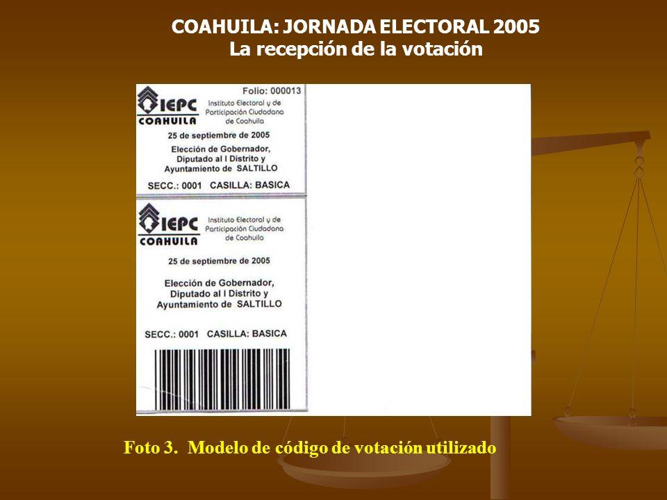 COAHUILA: JORNADA ELECTORAL 2005 La recepción de la votación Foto 3. Modelo de código de votación utilizado