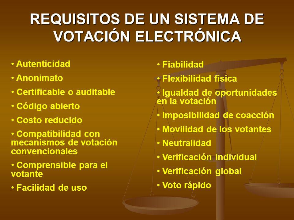 REQUISITOS DE UN SISTEMA DE VOTACIÓN ELECTRÓNICA Autenticidad Anonimato Certificable o auditable Código abierto Costo reducido Compatibilidad con meca