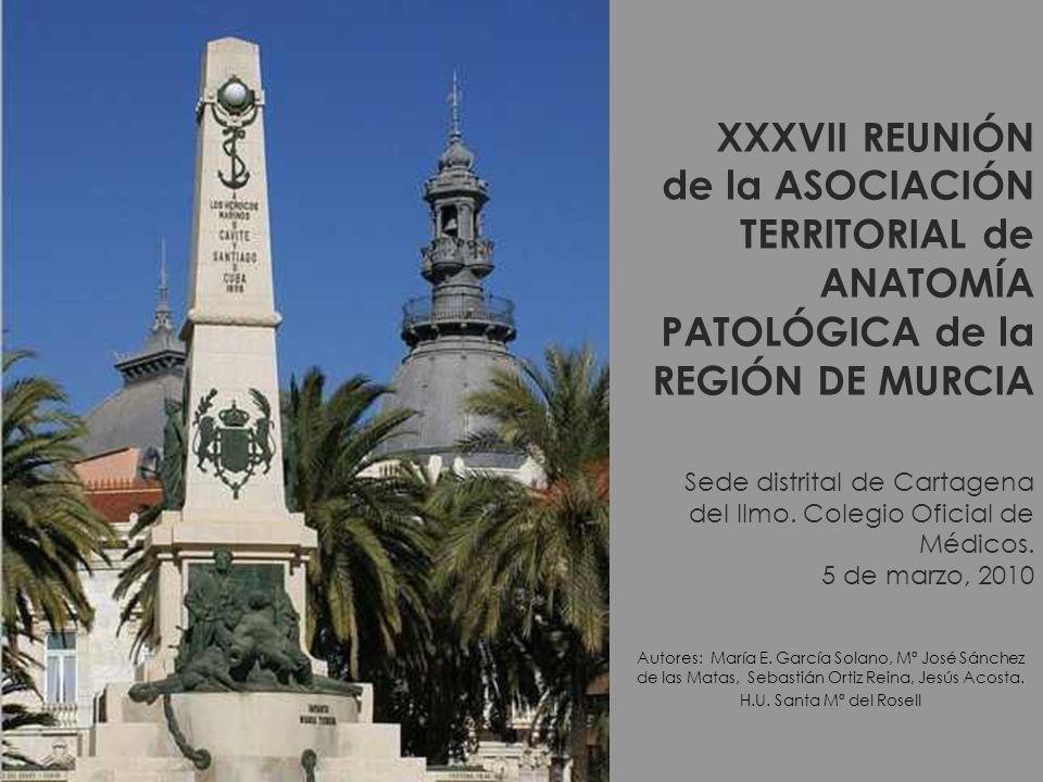 XXXVII REUNIÓN de la ASOCIACIÓN TERRITORIAL de ANATOMÍA PATOLÓGICA de la REGIÓN DE MURCIA Sede distrital de Cartagena del Ilmo.