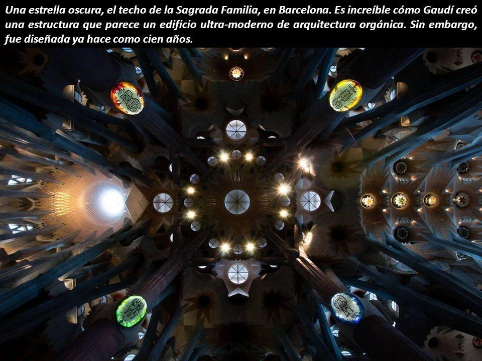 Una estrella oscura, el techo de la Sagrada Familia, en Barcelona.