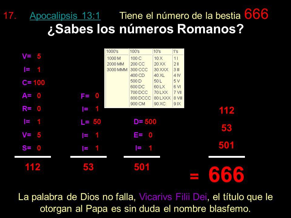 Apocalipsis 13:18 Apocalipsis 13:18 dice: cuente el número de la bestia. a)El nombre VICARIVS FILII DEI es en latín. b)El latín es el lenguaje escogid
