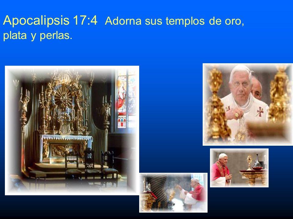 13.Apocalipsis 17:4Usa los colores púrpura y escarlata.Apocalipsis 17:4 Es sabido que ninguna otra institución religiosa combina estos colores.