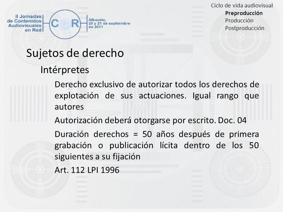 Sujetos de derecho Intérpretes Derecho exclusivo de autorizar todos los derechos de explotación de sus actuaciones. Igual rango que autores Autorizaci