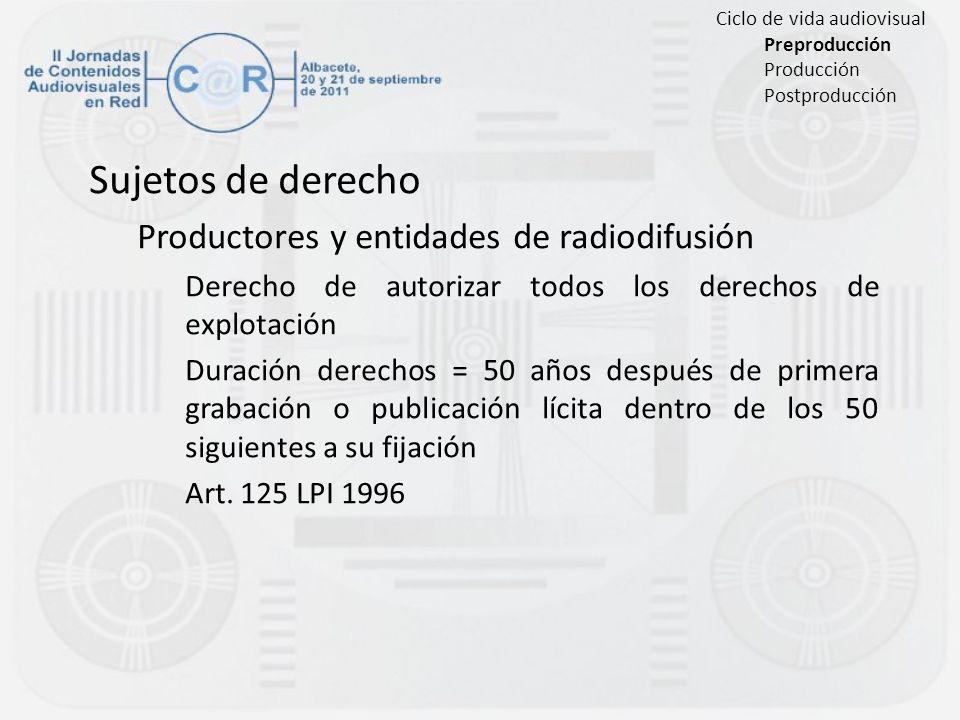 Sujetos de derecho Productores y entidades de radiodifusión Derecho de autorizar todos los derechos de explotación Duración derechos = 50 años después