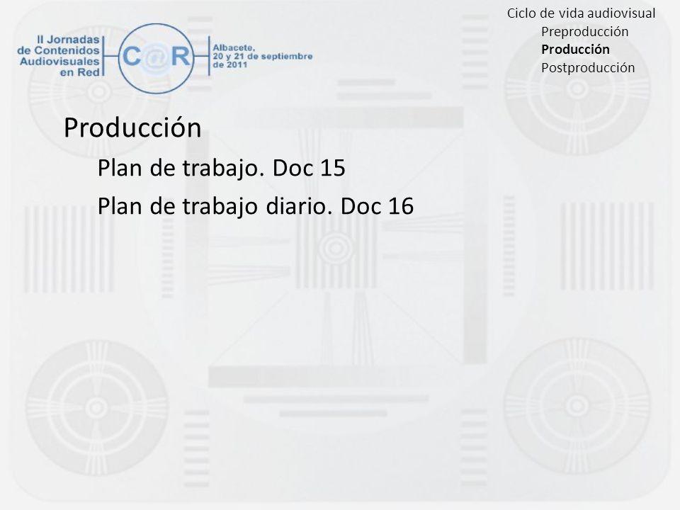 Producción Plan de trabajo. Doc 15 Plan de trabajo diario. Doc 16 Ciclo de vida audiovisual Preproducción Producción Postproducción