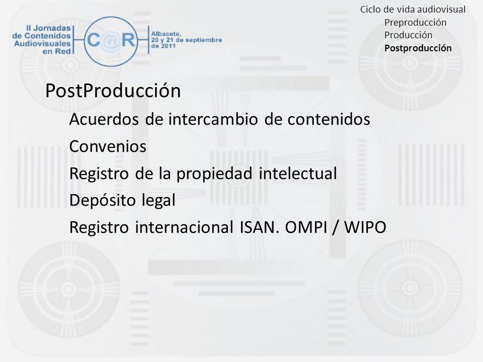 PostProducción Acuerdos de intercambio de contenidos Convenios Registro de la propiedad intelectual Depósito legal Registro internacional ISAN. OMPI /