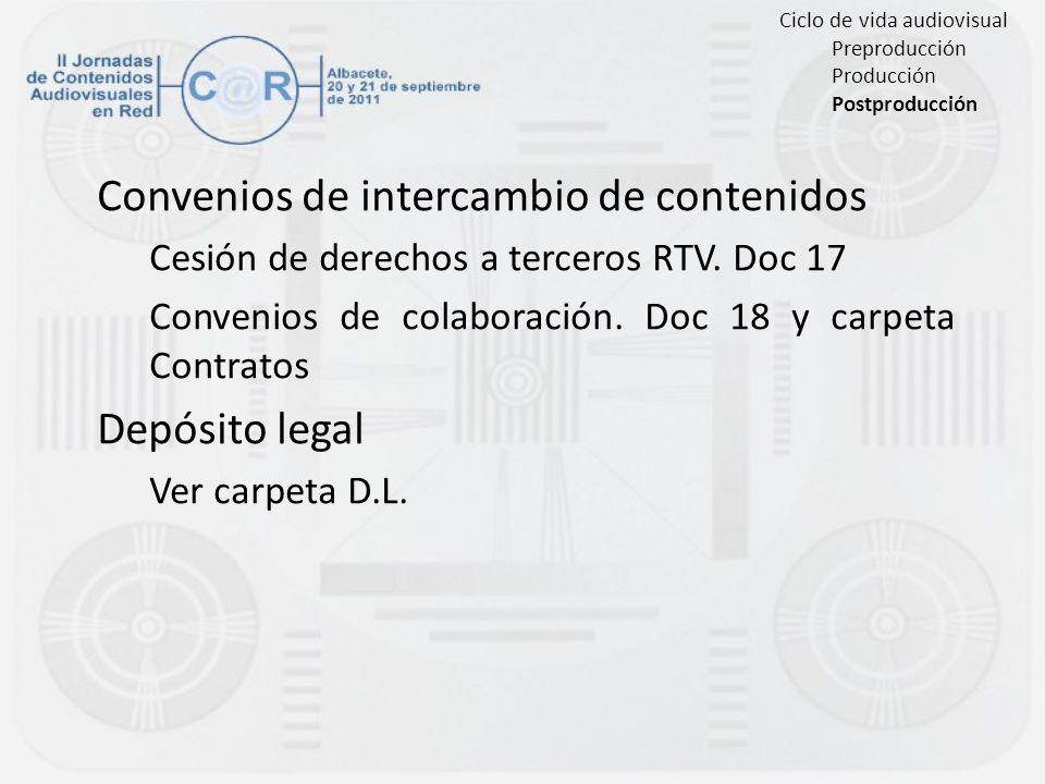Convenios de intercambio de contenidos Cesión de derechos a terceros RTV. Doc 17 Convenios de colaboración. Doc 18 y carpeta Contratos Depósito legal