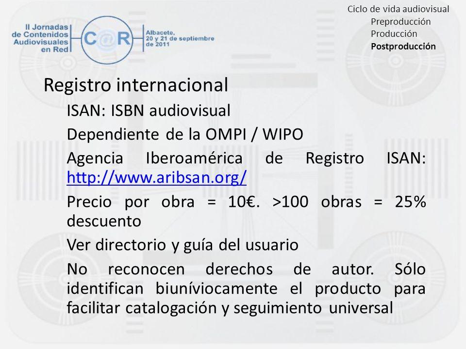 Registro internacional ISAN: ISBN audiovisual Dependiente de la OMPI / WIPO Agencia Iberoamérica de Registro ISAN: http://www.aribsan.org/ http://www.