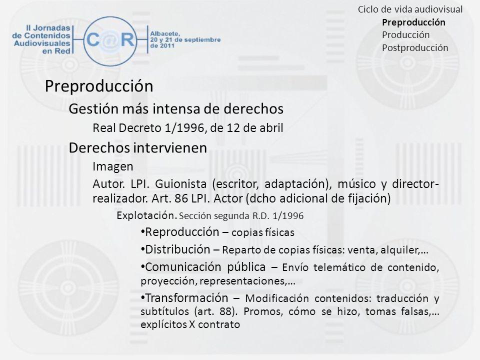 Preproducción Gestión más intensa de derechos Real Decreto 1/1996, de 12 de abril Derechos intervienen Imagen Autor. LPI. Guionista (escritor, adaptac