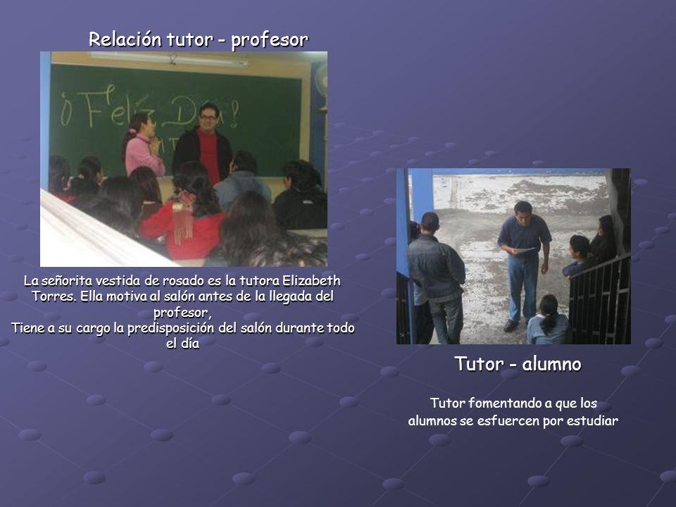 Tutor fomentando a que los alumnos se esfuercen por estudiar La señorita vestida de rosado es la tutora Elizabeth Torres.