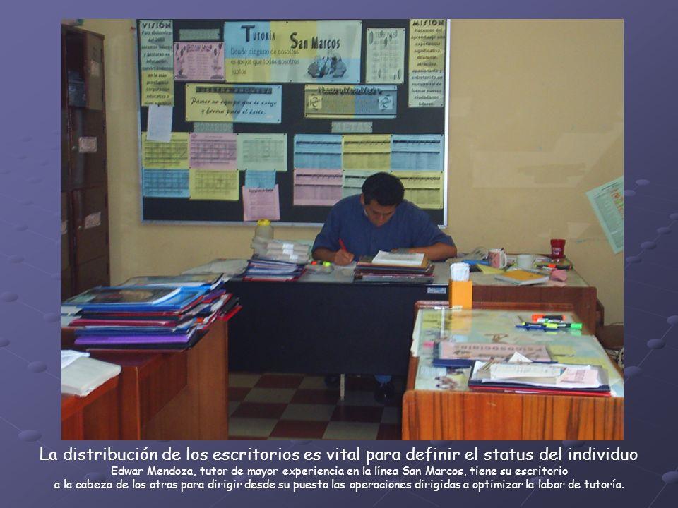 La distribución de los escritorios es vital para definir el status del individuo Edwar Mendoza, tutor de mayor experiencia en la línea San Marcos, tiene su escritorio a la cabeza de los otros para dirigir desde su puesto las operaciones dirigidas a optimizar la labor de tutoría.